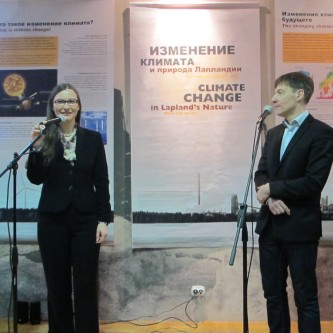 Stéphanie C. Lefrère, scientific commissioner of the exhibition with translator Boris Kutchekov